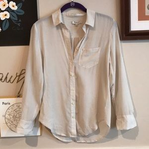 MADEWELL CREAM SILK BLOUSE BUTTON UP